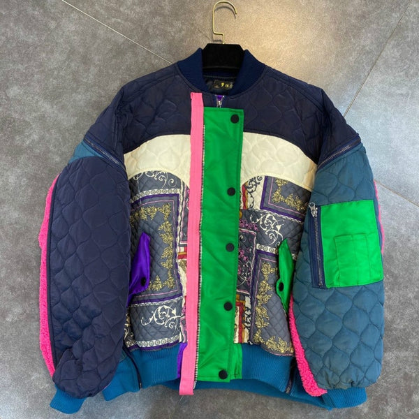 Multicolor Quilted Paisley Bomber Jacket