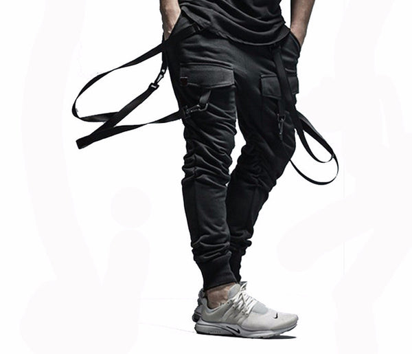 Jet black double strapped joggers