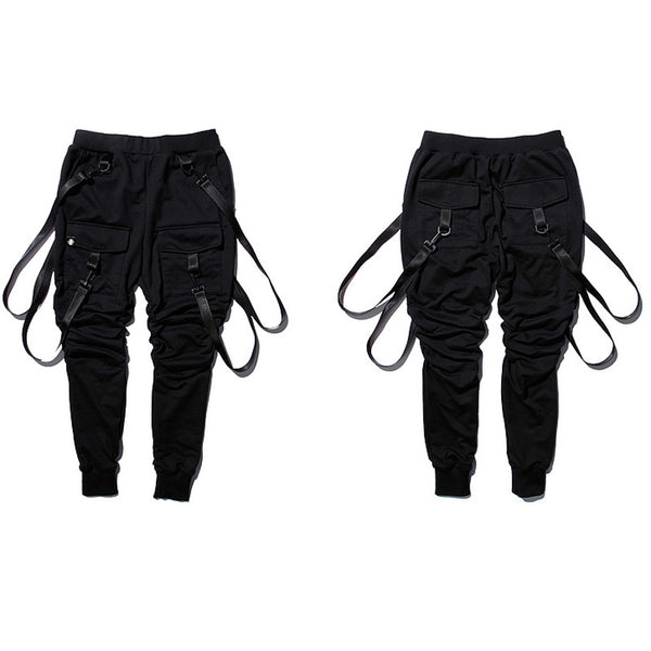 Jet black double strapped joggers - limetliss