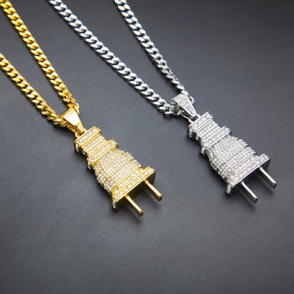 Iced Out Plug Pendant Chain - limetliss