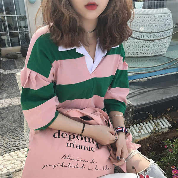 women's preppy loose striped button up henley shirt