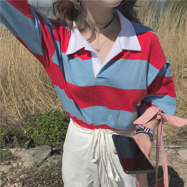 women's preppy loose striped button up henley shirt - limetliss