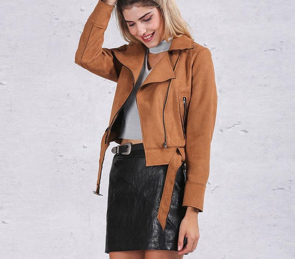 classic suede motorcycle jacket - limetliss