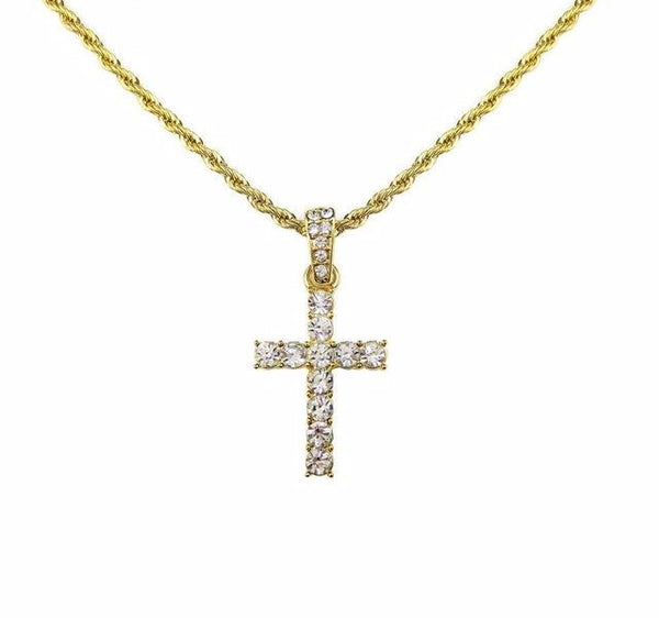 Iced Out Flooded Crystal Cross Chain - limetliss