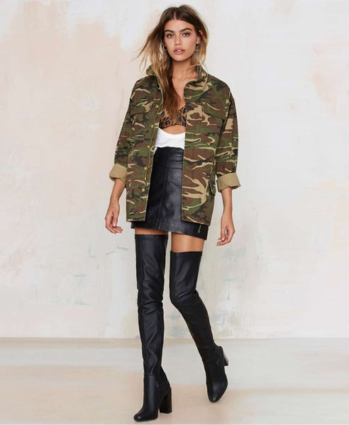 ladies camouflage button up jacket - limetliss