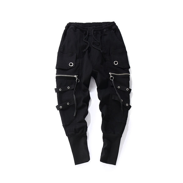 exodus midnight black strapped joggers - limetliss