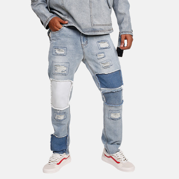 Quad Patched Ripped Denim Jeans - limetliss