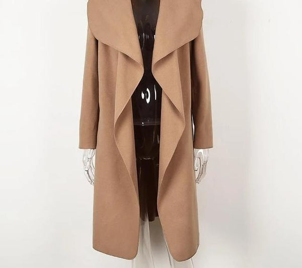 turndown ladies long collar overcoat - limetliss