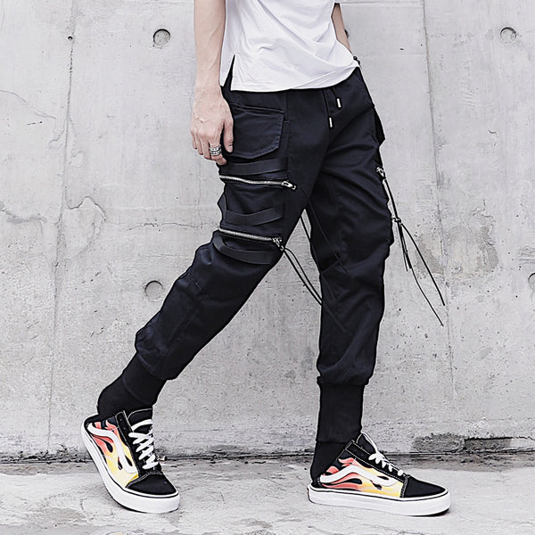 Black On Black Quad Zip Joggers - limetliss