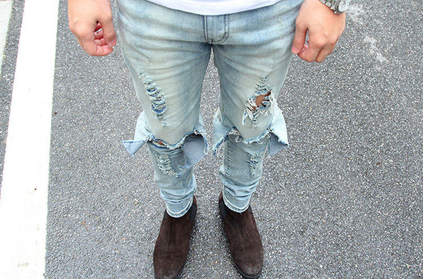 Men's Skinny Destroyed Distressed Ripped Denim Jeans - limetliss