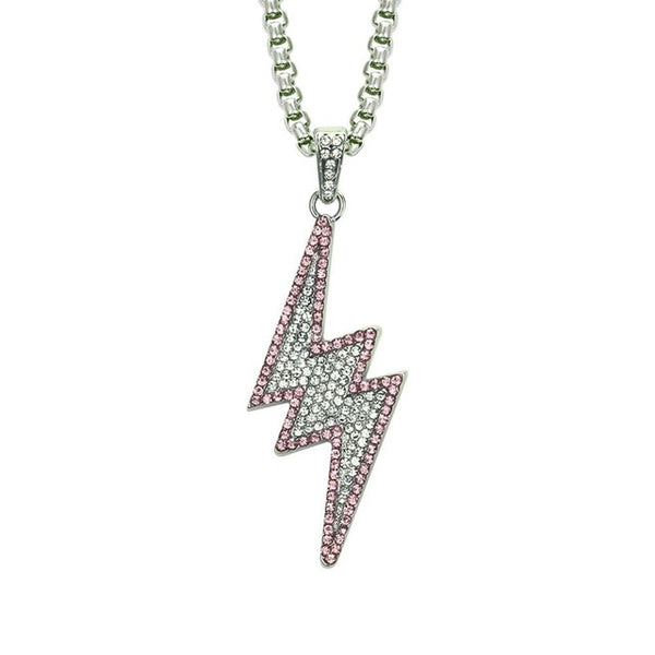 Gold Lightning Bolt Ice Out Pendant Chain - limetliss