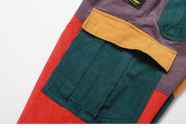 Corduroy Cargo Patched Color Block Joggers - limetliss