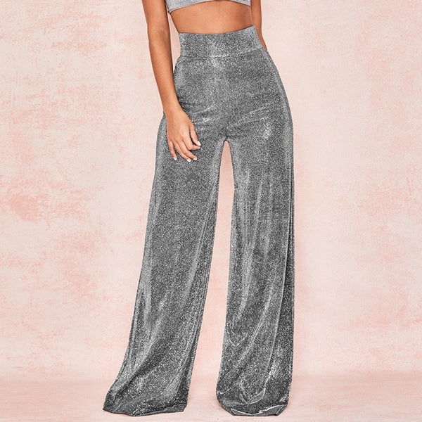 Shimmer Crystal Wide Leg Trousers - limetliss