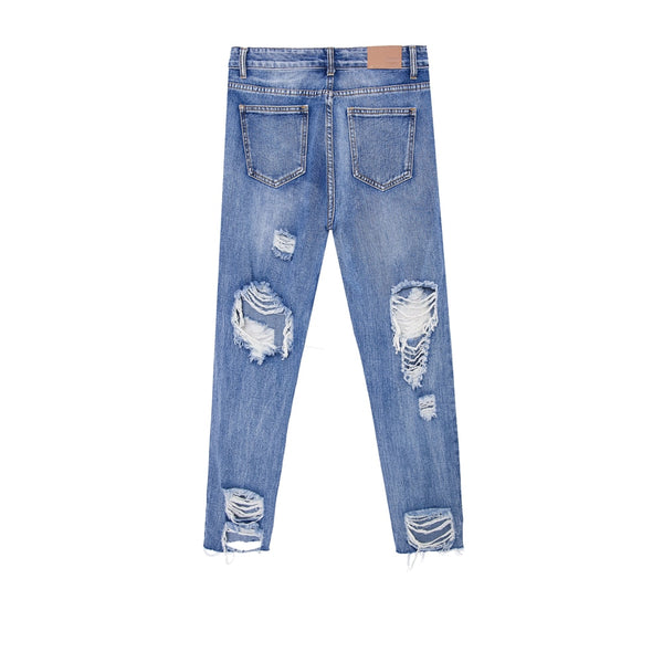raw destroyed blue ripped denim jeans - limetliss