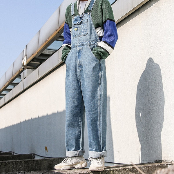 Harajuku Denim Wide-Leg Overalls - limetliss