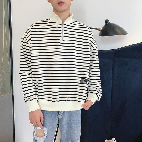 barcode striped zip pullover - limetliss