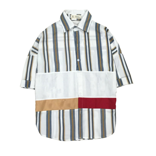 multi stripe patched button up - limetliss