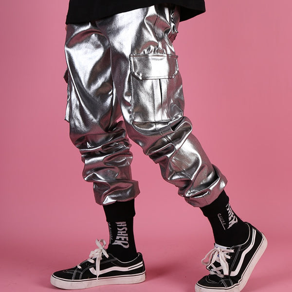 Silver Metallic Leather Joggers - limetliss