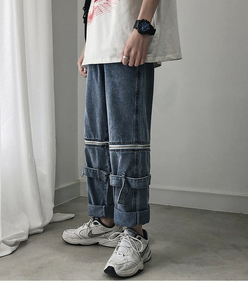 Removable Double Buckle Denim Trousers - limetliss