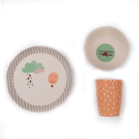 Love Mae Bamboo Dinnerset 3 Pieces Up Up & Away