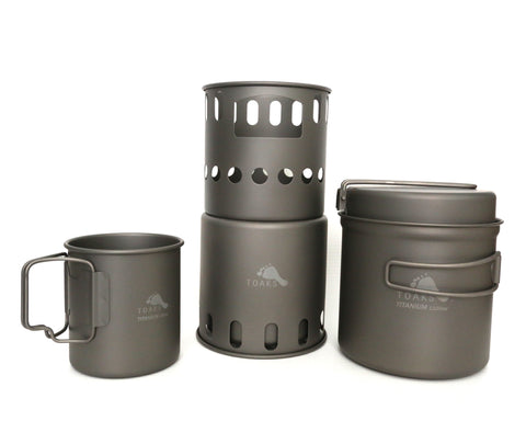Includes full-size wood stove, large pot/pan set, and 450 mL cup