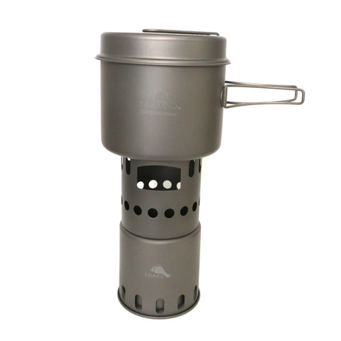 TOAKS Titanium 1600ml Pot with Pan / Wood Stove Combo Set