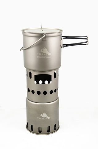 TOAKS Titanium 1100ml Pot with Bail Handle and Wood Stove Combo Set