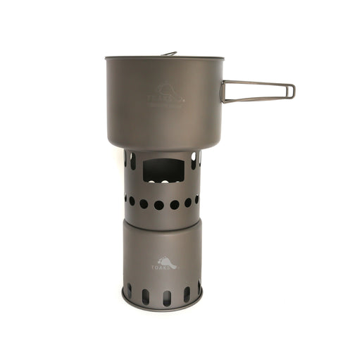 TOAKS Titanium 1600ml Pot and Wood Stove Combo Set