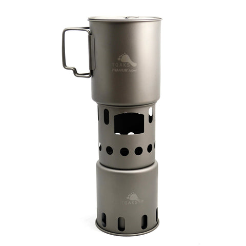 TOAKS Titanium 750ml Pot and Wood Stove Combo Set