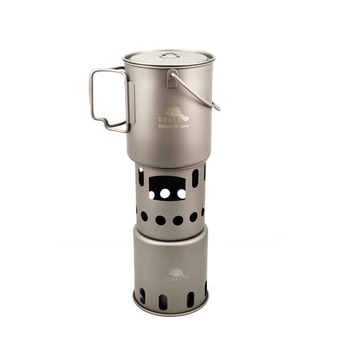 TOAKS Titanium 750ml Pot with Bail Handle and Wood Stove Combo Set
