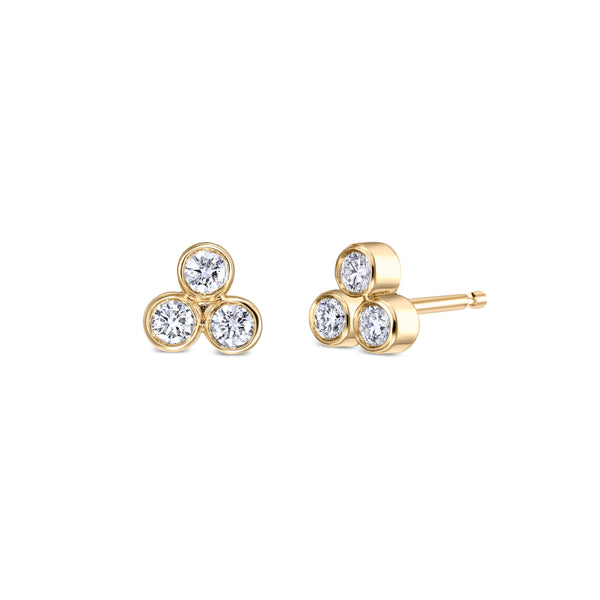 Trio Diamond Gold Earrings