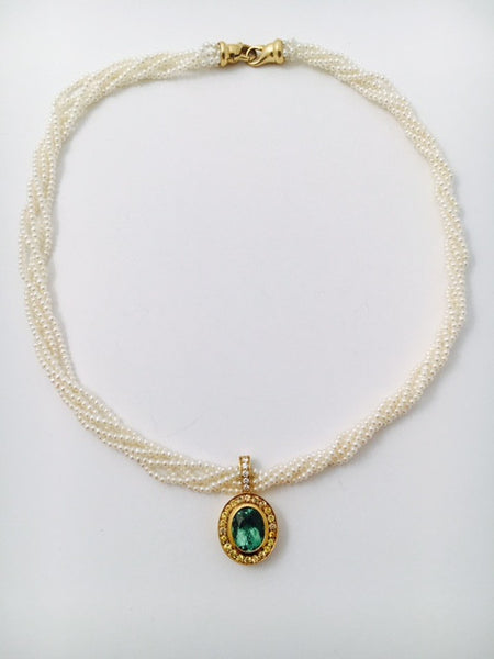 Tourmaline and Yellow Sapphire Pendant with Seed Pearl Necklace