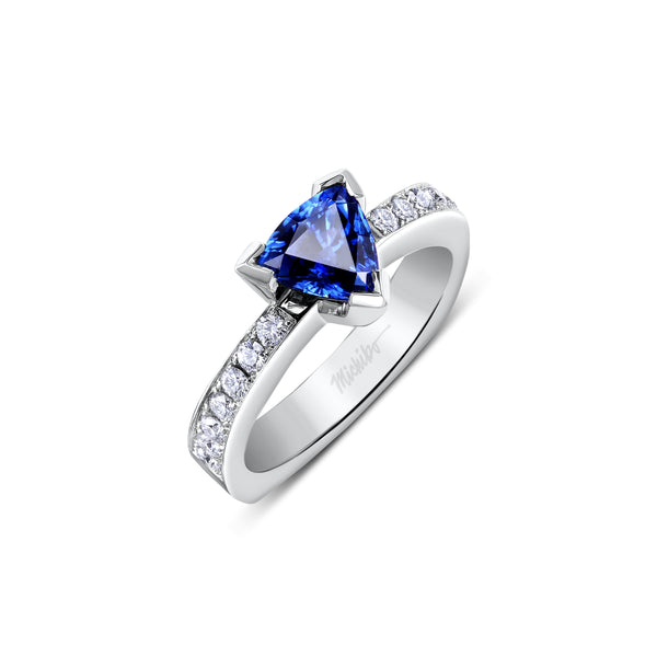 Trillion Cut Sapphire Diamond Ring
