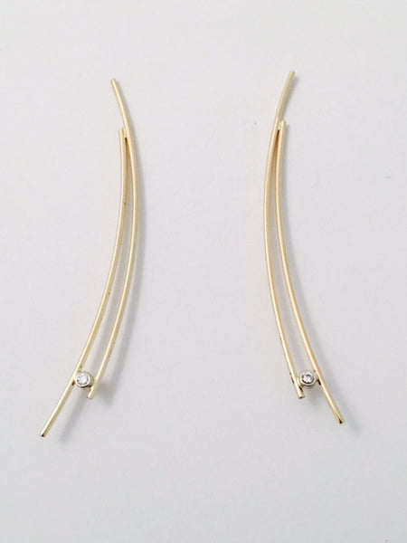 Gold Wire Earrings with Diamonds