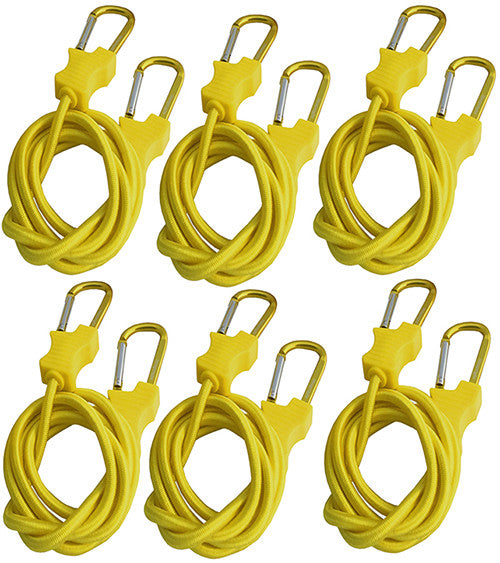 "Bungee Cord with Carabiners Super Long 60"" Set of 6 in Yellow"