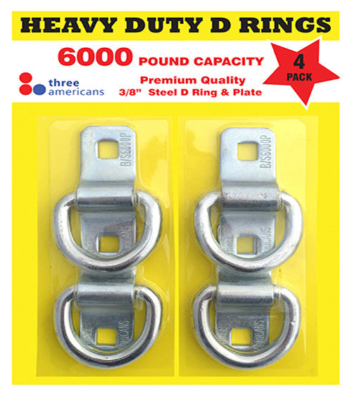 Heavy Duty D Ring Anchors - 6000 pound, 4 Pack