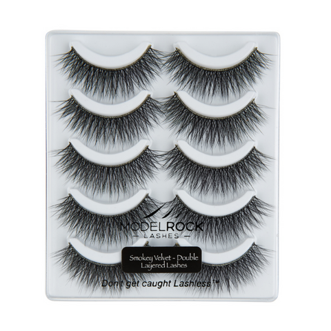 MODELROCK LASHES Smokey Velvet - Double Layered - 5 pair lash pack