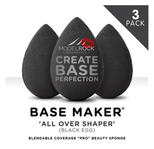 Modelrock  PRO 3pk - Base Maker® Beauty Sponge - 'ALL OVER SHAPER' (Black Egg)