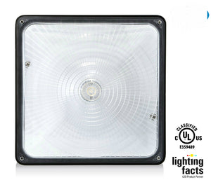 "HISUN LED 70W LED Canopy Light  5000K 5900 Lumens  9.5"" x 9.5"" Waterproof and Outdoor Rated"