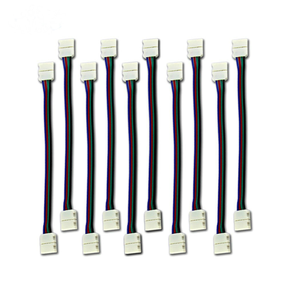 HISUN LED SMD 5050 (10mm) RGB LED Strip Light  Connector Extension, Single Color - 6 Inch (10-Pack)