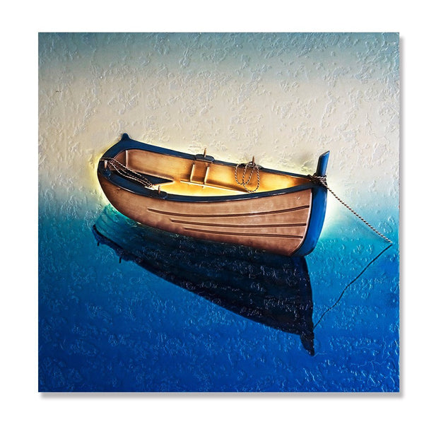 Handmade 3D Boat Painting Wall Art of Home Decorations Wall Decor (24X24 inch)
