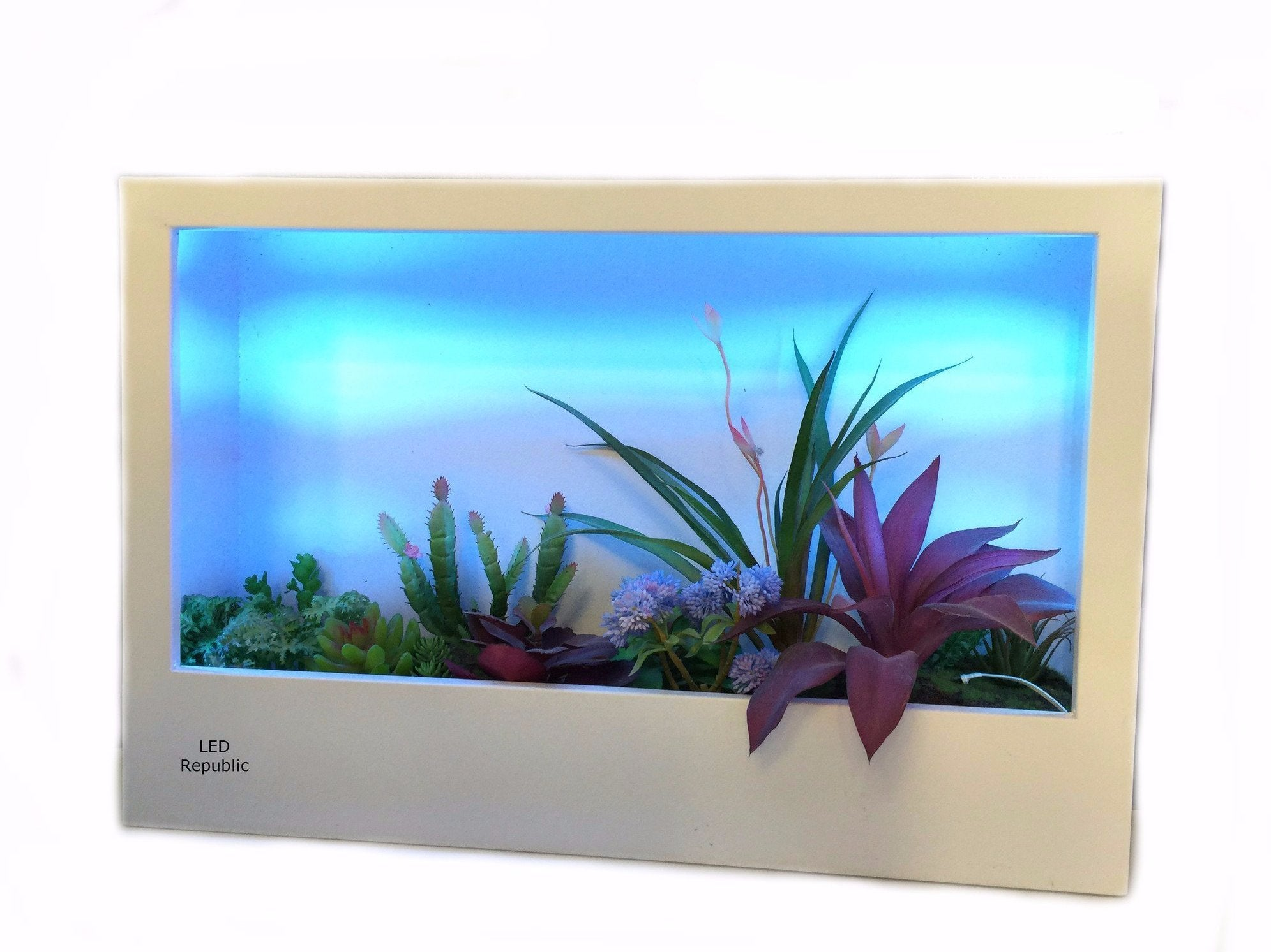 "HISUN LED 24""in ""Plant and Flower on the Wall"" LED Change Color Light"