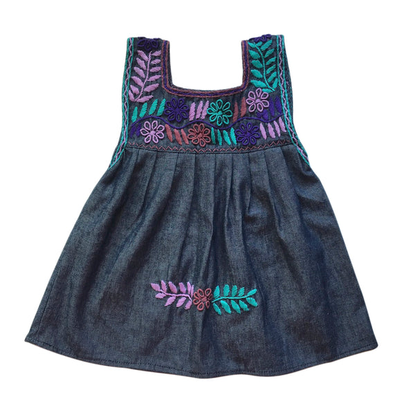 children's chambray fern & flowers embroidered pinafore
