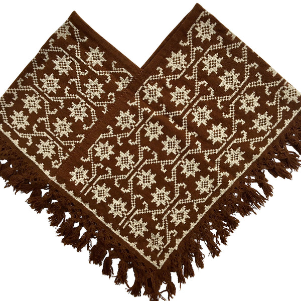poncho natural wool snowflake