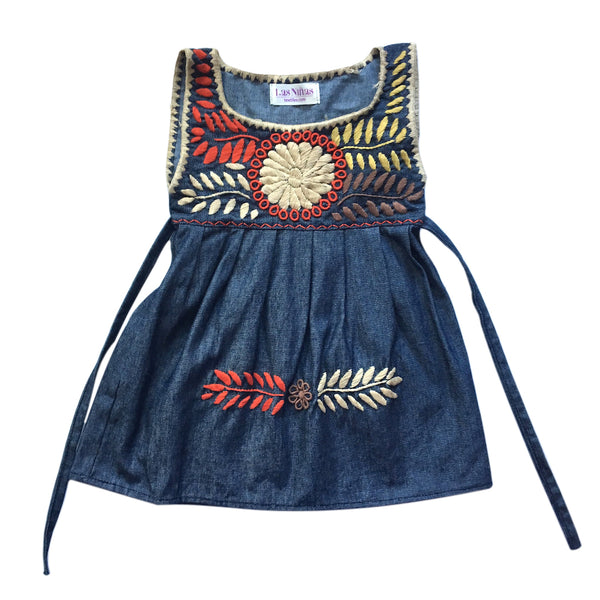 chambray sun flower floral embroidered children's dress 2-4 yrs