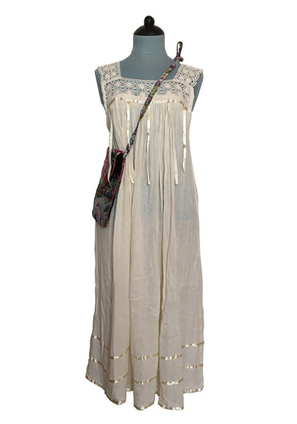 cheesecloth 5 ribbon sleeveless maxi dress