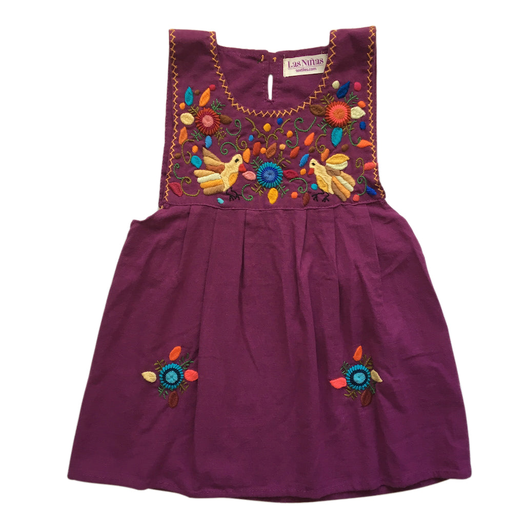 plum autumn doves embroidered dress