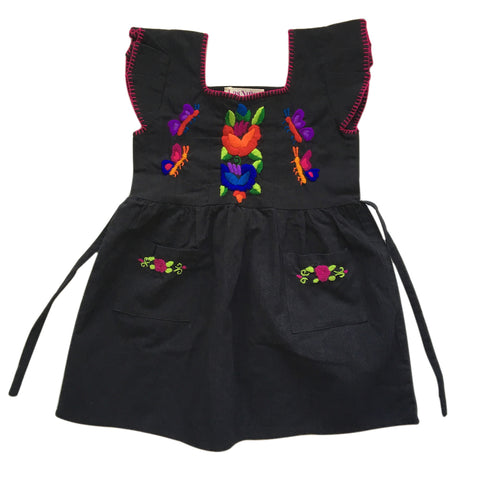 hand embroidered children's dress black 4 years old