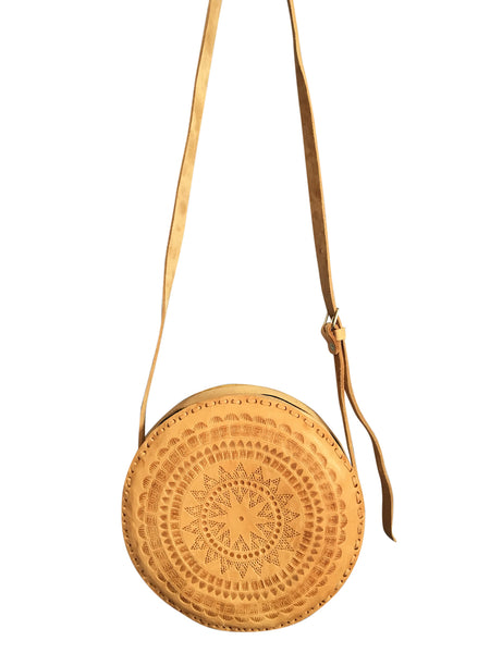 round tooled leather bag