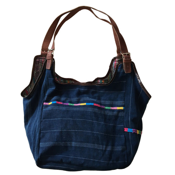 indigo & leather bag